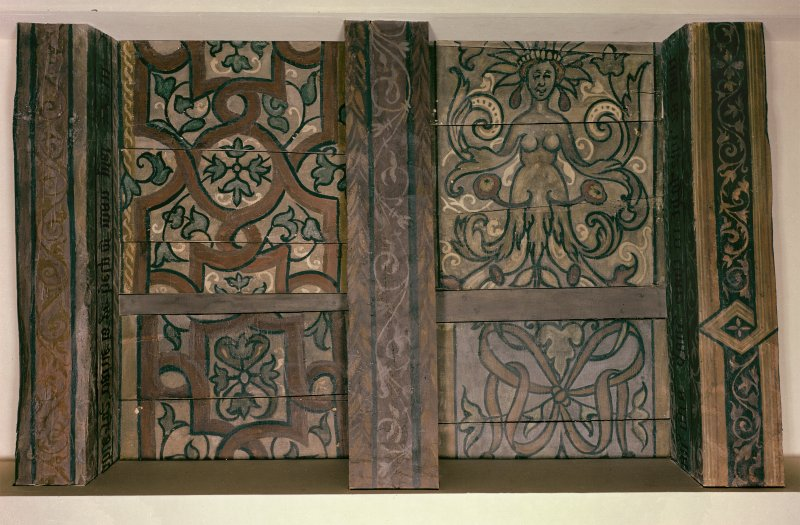 Traquair House, interior Detail of painted ceiling in High drawing room