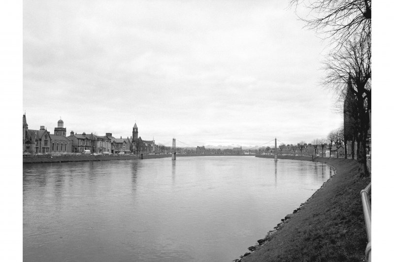 Inverness, Church Lane, Suspension Bridge Distant view from SE