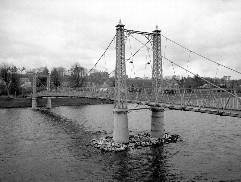 Inverness, Ness Walk, Infirmary Suspension Footbridge View from NW showing NNE front