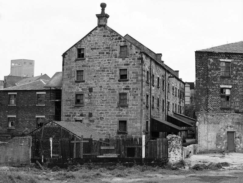 Glasgow, 206 Old Dumbarton Road, Bishop Mills View from W showing brick building, original mill building and wheelhouse