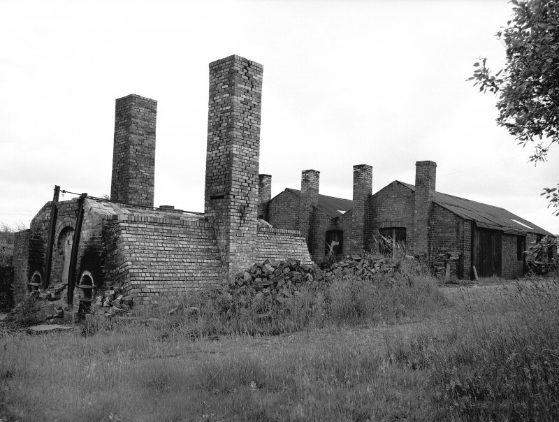 High Bonnybridge, Firebrick Works View from NW showing firebrick kiln and moulding shop in background