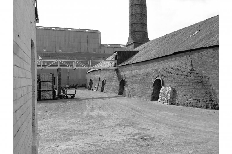 Armadale, Etna Brickworks View from N showing ENE front of W Hoffman kiln and main buildings in background. Both 10 chamber kilns were demolished in 1984.