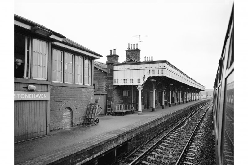 Stonehaven Station View of up-platform from moving train