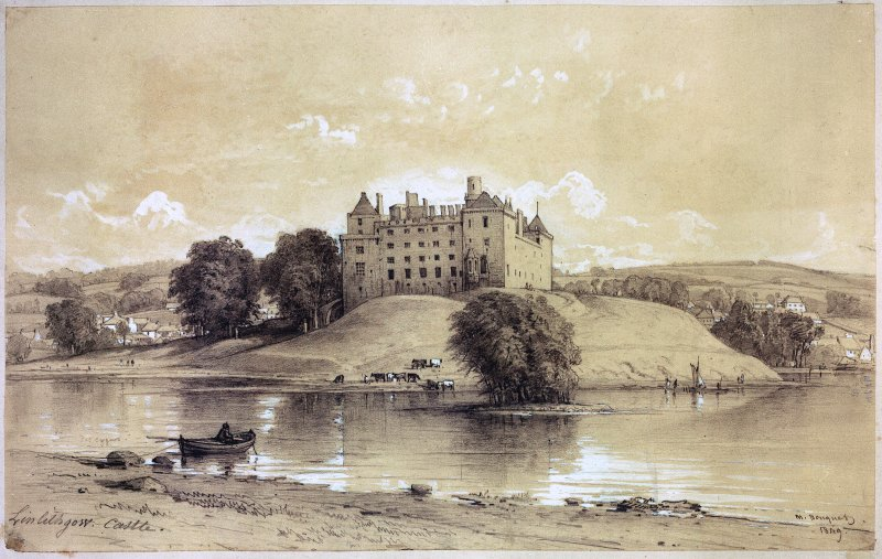 Linlithgow Palace. Photographic copy of a drawing showing a view from the North.