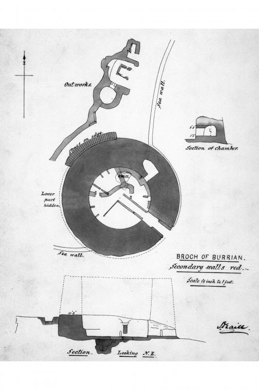 Plan of broch and outstructures; section of intramural chamber; section of broch looking NE J.Traill