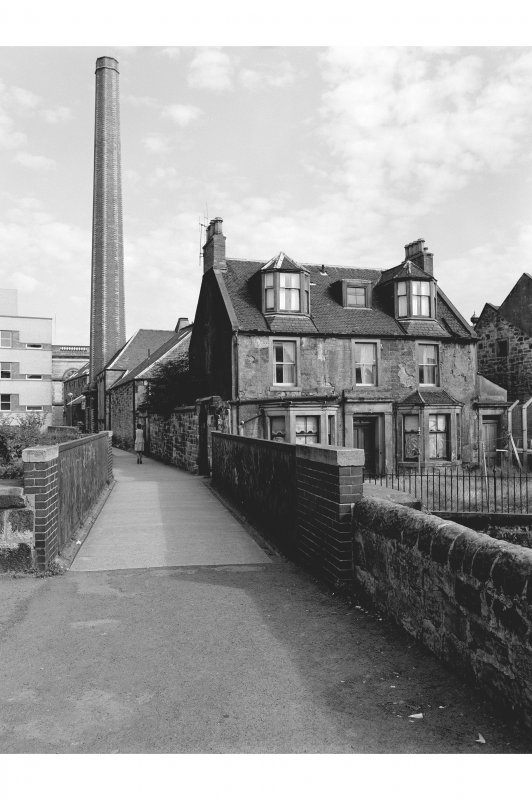 Dunfermline, Pilmuir Street, Pilmuir Works View from SSW showing chimney and S front of Railside Cottage