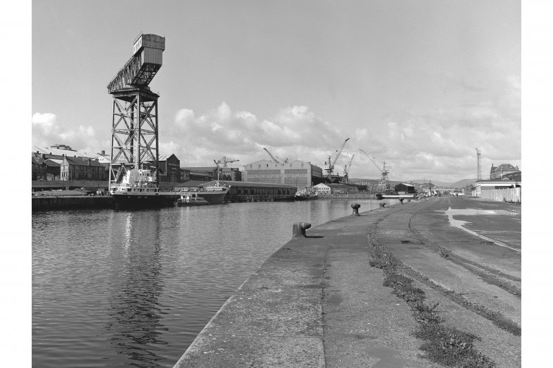 Greenock, James Watt Dock View across dock from NE, crane in background