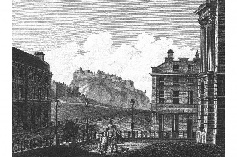 Copy of engraved view from the General Register House showing Edinburgh Castle and Pools Hotel (10 Princes Street), inscr; 'REGISTER OFFICE'