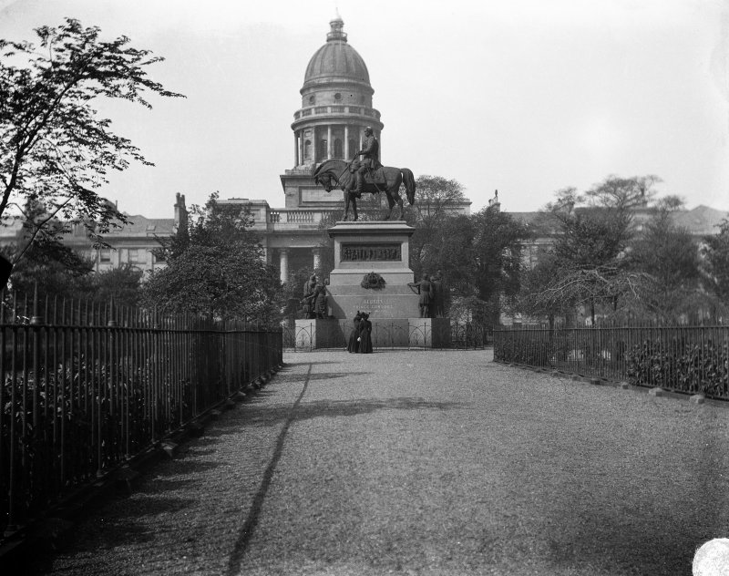 General view of monument with St George's Church behind