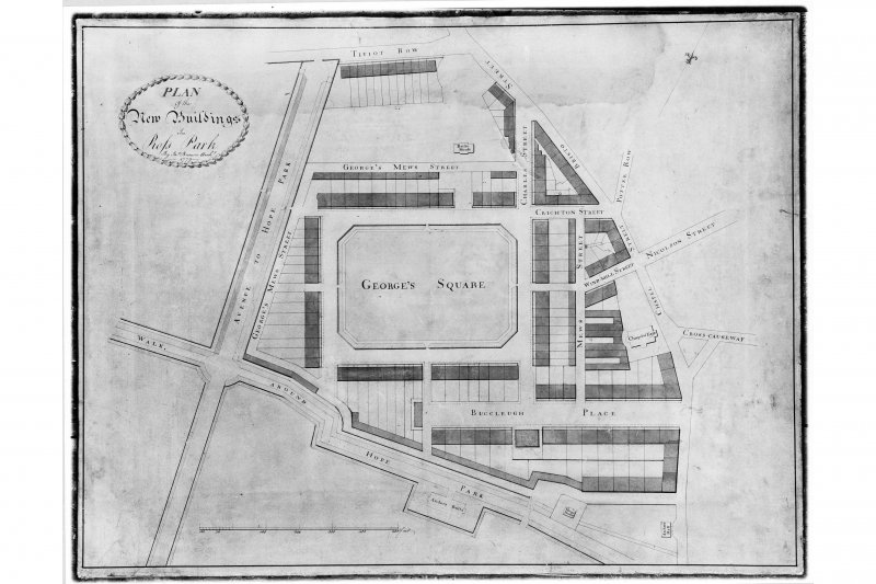 Plan of 'George's Square' in Edinburgh and the surrounding streets. Insc. 'Plan of the New Buildings in Rofs Park. By Jas. Brown Architect. 1779.'