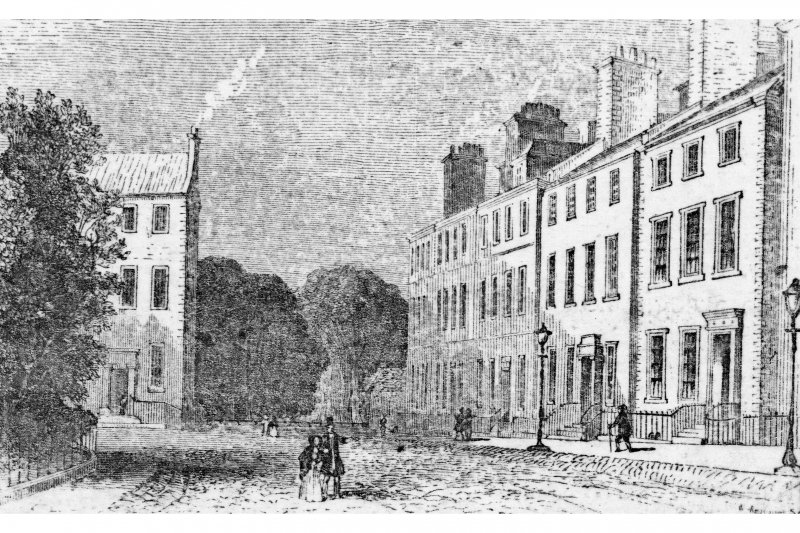 Photocopy of an engraving showing the South West corner of George Square.