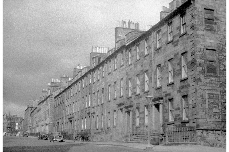 View of the East side of George Square including the buildings later demolished to make way for the William Robertson Building, seen from the South West.