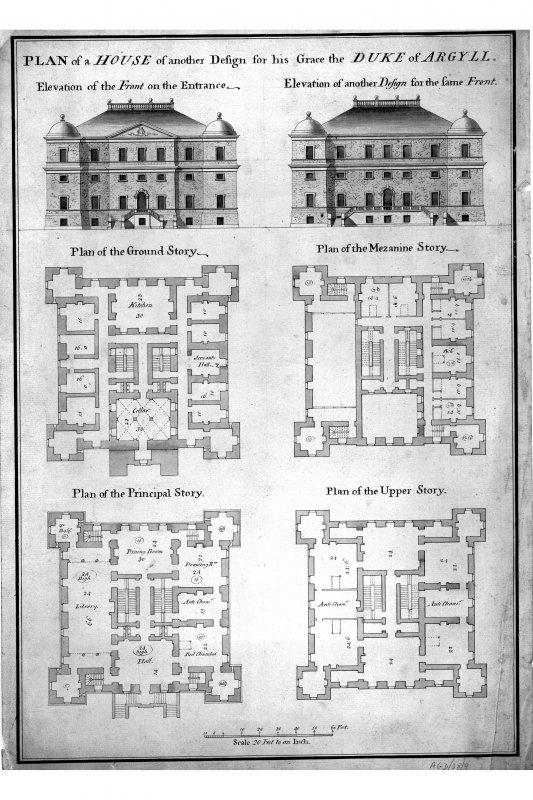 Elevations and plans. Insc. 'Plan of a House of another design for his Grace the Duke of Argyll.  Elevation of the Front on the Entrance. Elevation of another design for the same Front.  Plan of the Ground Story. Plan of the Mazanine Story.  Plan of the Principal Story. Plan of the Upper Story.' Unsigned and undated (attributed to Roger Morris).