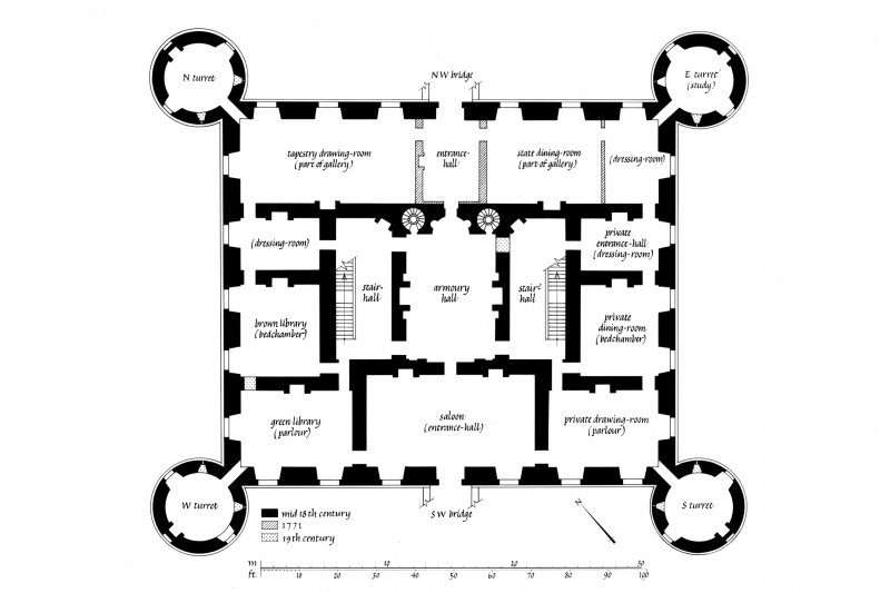 Principal floor plan with alterations. RCAHMS survey drawing.