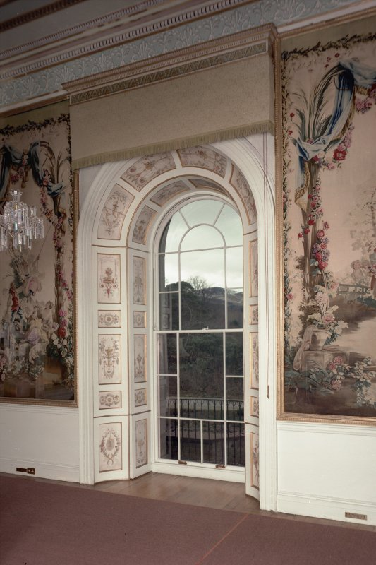 Interior. View of window and shutter in Tapestry Drawing Room.