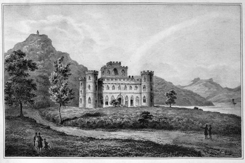Lithograph showing view of Inveraray Castle Insc. 'Chateau d'Inveraray.  J. Hardiviller del.  Lith. de Villain.'