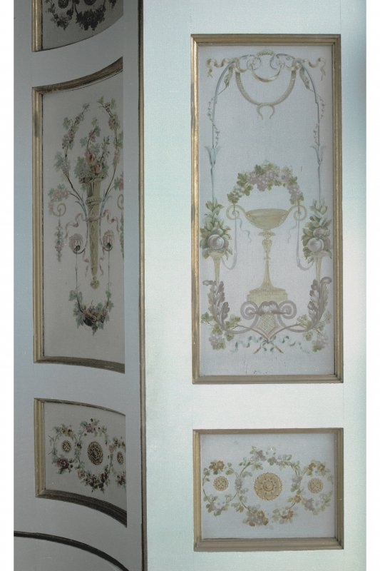 Interior. View of decoration on window shutters in Tapestry Drawing Room.