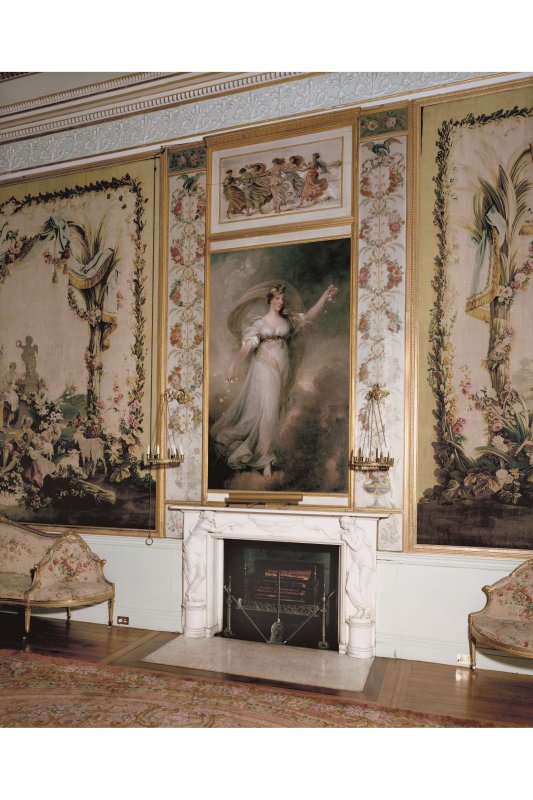 Interior. View of fireplace and paintings in Tapestry Drawing Room.