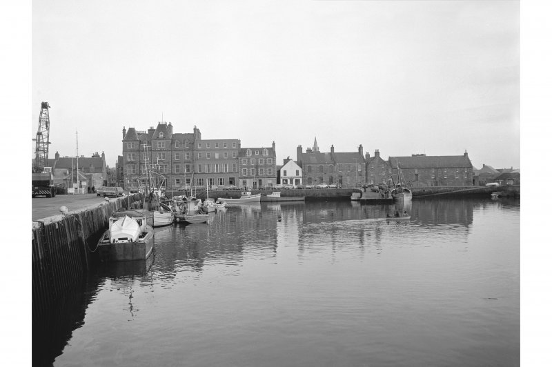 Kirkwall Harbour View from N showing WSW front of S half of pier, NNW front of harbour wall and N fronts of buildings on Harbour Street