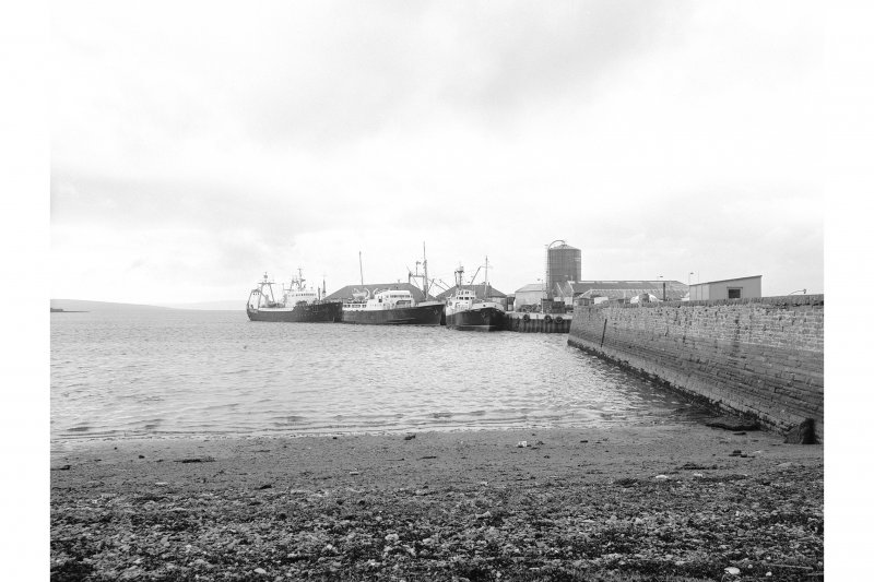 Kirkwall Harbour View from SSW showing WNW front of West Pier with pier in distance