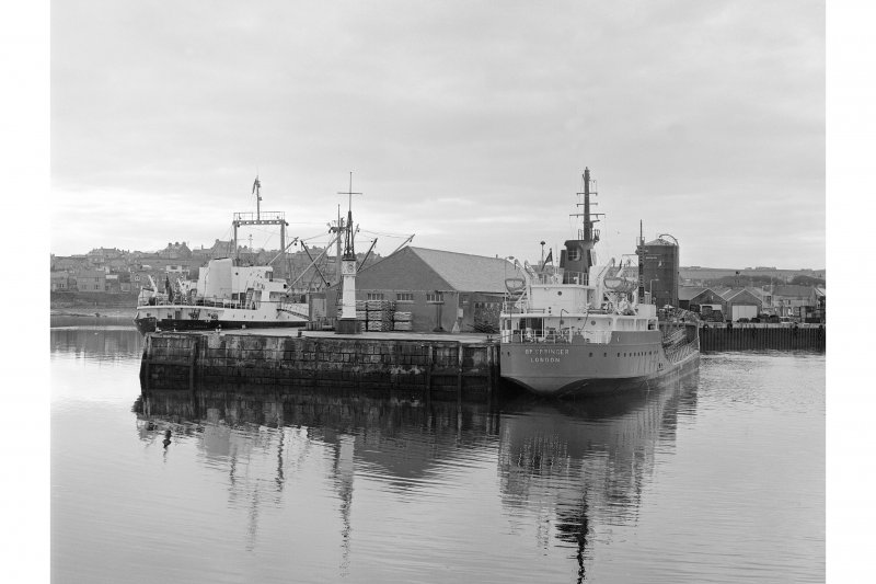 Kirkwall Harbour View from NW showing tankers, beacon and NW front of pier