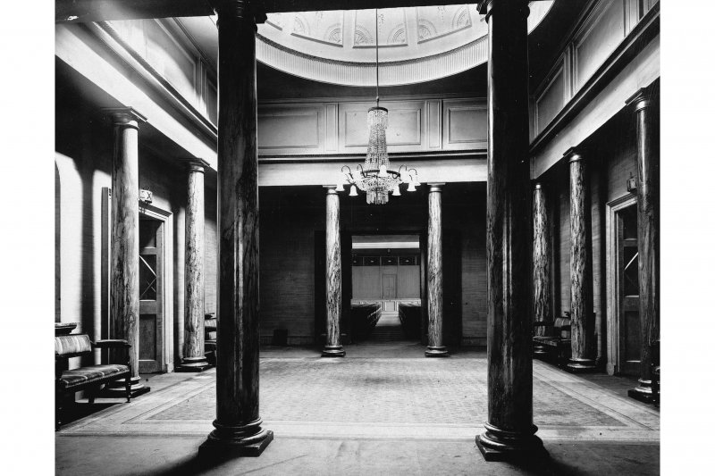 Interior, view  of the domed salon with columns.