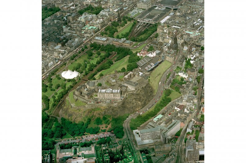 Oblique aerial view of Edinburgh Castle from the SW.