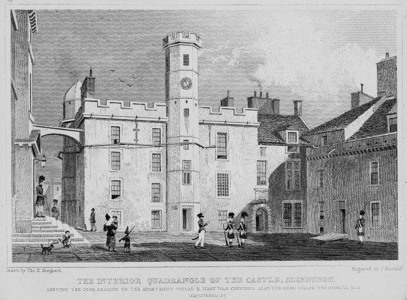 Photographic copy of engraving showing the interior quadrangle of the Castle