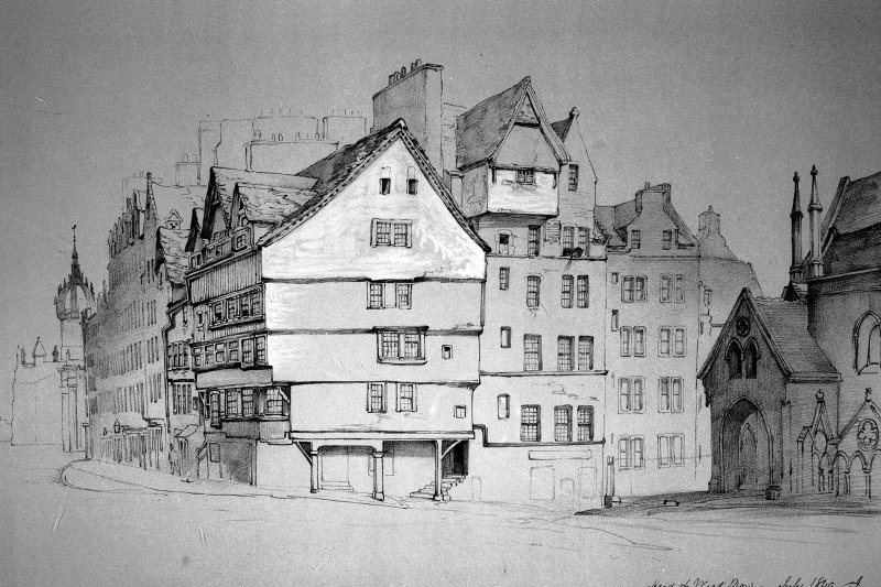 Copy of drawing by James Drummond showing corner of Lawnmarket and Head of Upper Bow.