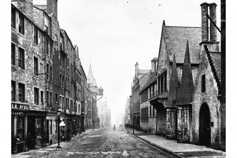 "General view of Canongate looking East, showing Tolbooth and Moray House Insc. ""Moray House, Canongate, Edinburgh. 322. AI."""