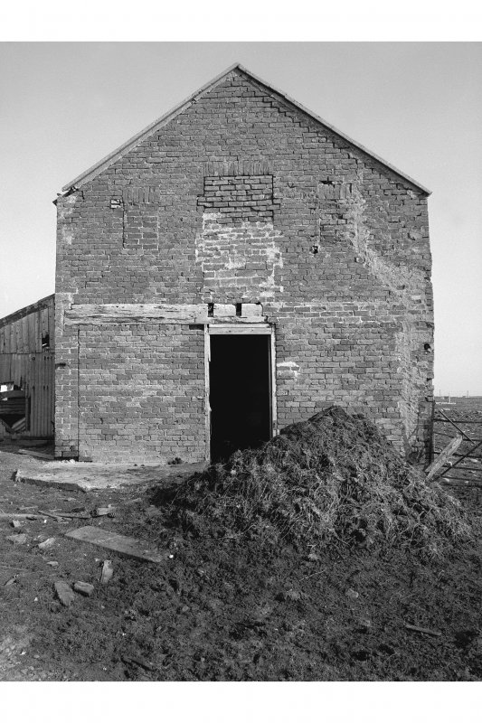 Lewis, Garrabost Brickworks Detail of gable end and blocked entrances, from NE