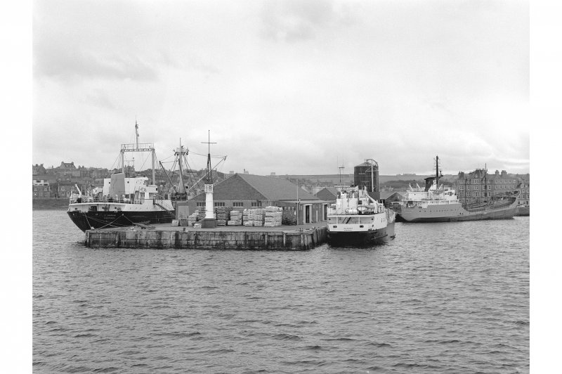 Kirkwall Harbour View from NNW showing beacon and NW front of pier