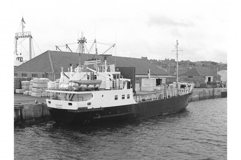 Kirkwall Harbour View from WNW showing MV Islander docked on N half of SW front of pier