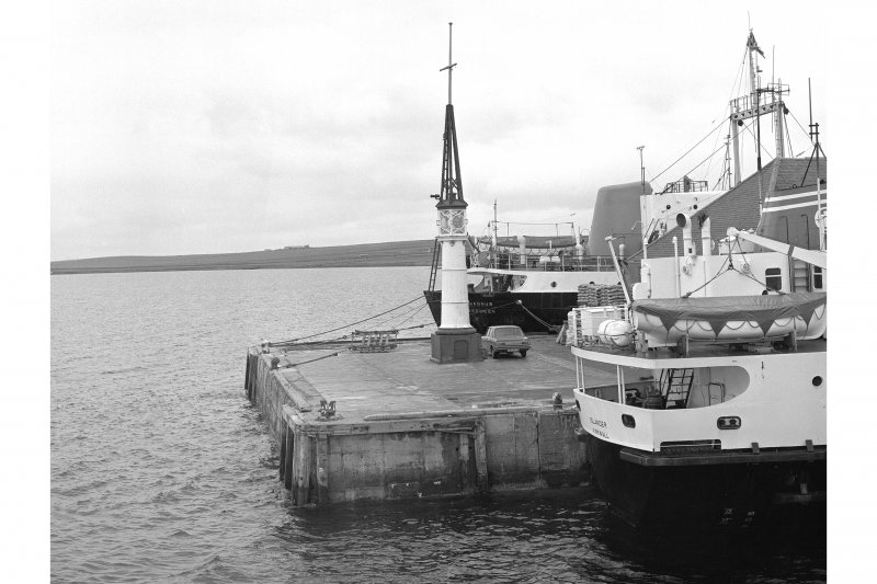 Kirkwall Harbour General view from WSW showing beacon and NW tip of pier