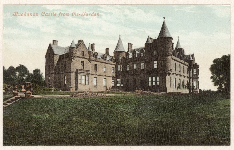 Photographic view  of Buchanan Castle (tinted postcard, Valentine) insc: 'Buchanan Castle from the Garden'