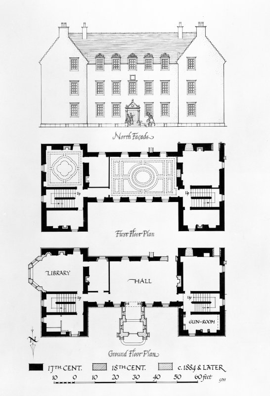 Bannockburn House. Photographic copy of drawing showing 'North Facade, First Floor Plan and Ground Floor Plan'.