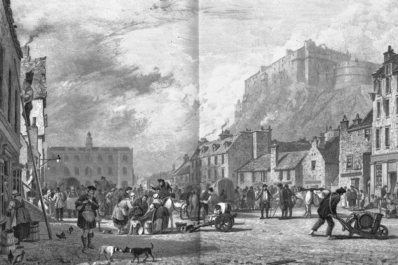 Edinburgh Castle; Edinburgh, Grassmarket, General Photographic copy of engraving showing Edinburgh Castle from the Grassmarket Copied from 'Views In Scotland'. Drawn by A W Calcott, R.A.; The figures etched by G. Cooke; Engraved by H. Le Reux. Insc. 'The Castle from the Grass Market'.