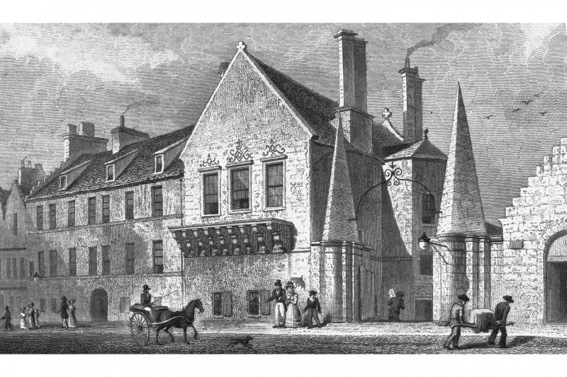 Edinburgh, 174 Canongate, Moray House Photographic copy of engraving showing Regent Murray's house in the canongate Copied from 'Views In Scotland'. Drawn by Thomas H Shepherd; Engraved by James B Allen. Insc. 'Regent Murray's House, in the Canongate, Edinburgh'.