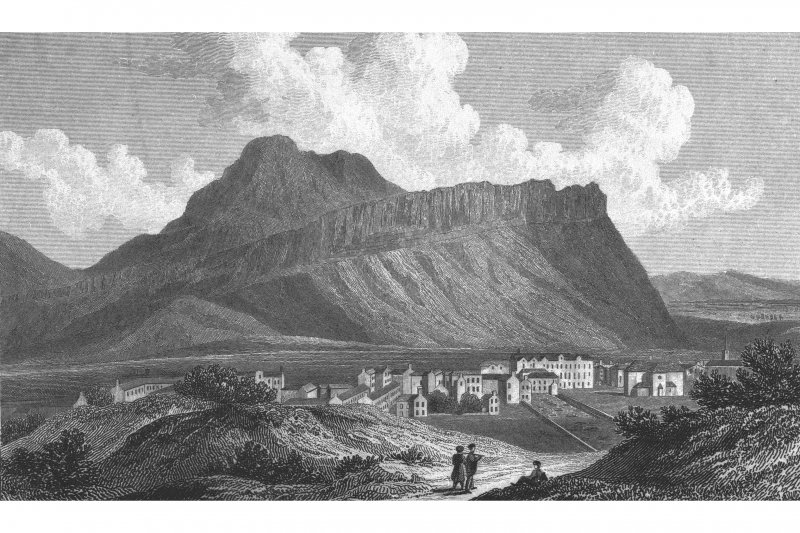 Edinburgh, Arthur's Seat, General Photographic copy of engraving showing view of Salisbury Crags and Arthur's Seat Copied from 'Views in Scotland'. Drawn by W Westall, A.R.A.; Engraved by J. Fife. Insc. 'Salisbury Crags near Edinburgh'