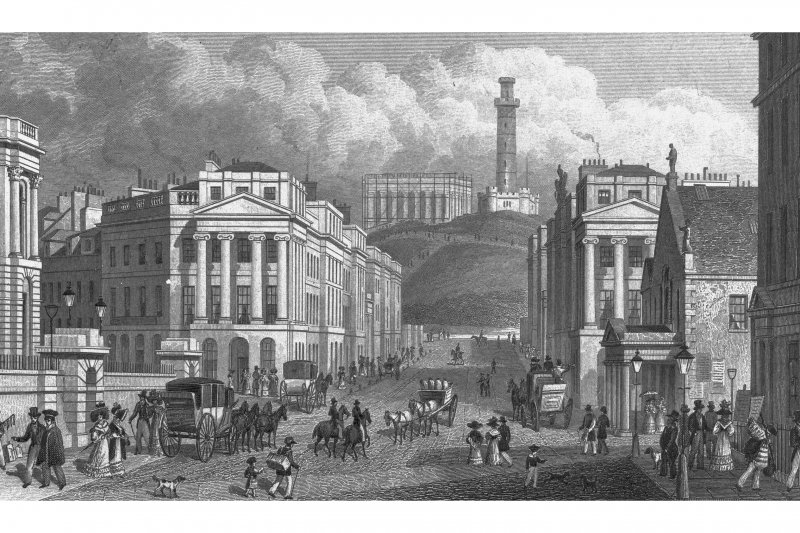 Engraving showing Waterloo Place looking towards Calton Hill Insc. 'Waterloo Place, the National & Nelson's Monuments, Calton Hill, &c. Edinburgh'.  Also visible is the Shakespeare Theatre.
