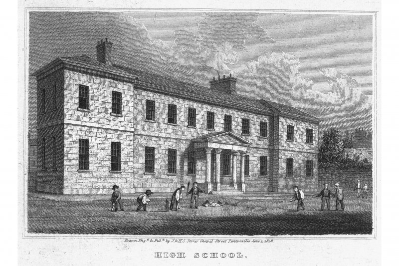 Edinburgh, High School Yards, Royal High School of Edinburgh Photographic copy of engraving showing main entrance front of Royal High School Copied from 'Views in Edinburgh and its Vicinity, Volume 2'. Insc. 'High School. Drawn, Eng.d & Pub.d by J & HS Storer, Chapel Street, Pentonville. June 1, 1819'
