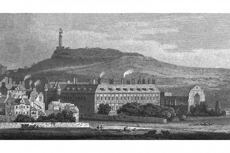 Edinburgh, Holyrood Palace; Holyrood Abbey Photographic copy of engraving showing Holyrood Palace and Abbey from Holyrood Park Copied from 'Views in Edinburgh and its Vicinity, Volume 2'. Insc. 'Holyrood Chapel, (from the Kings Park). Drawn, Eng.d & Pub.d by J & HS Storer, Chapel Street, Pentonville. Sept.r 1, 1819'