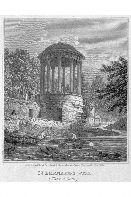 Edinburgh, St Bernard's Well Photographic copy of engraving showing St Bernard's Well from the Water of Leith Copied from 'Views in Edinburgh and its Vicinity, Volume 2'. Insc. 'St. Bernard's Well. (Water of Leith). Drawn, Eng.d & Pub.d by J & HS Storer, Chapel Street, Pentonville, Nov. 1 1819'