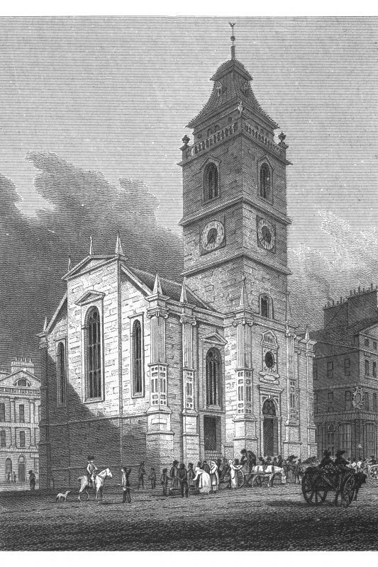 Engraving of Tron Church, High Street, Edinburgh showing the original steeple. Copied from 'Views in Edinburgh and its Vicinity, Volume 2'. Insc. 'The Tron Church. Drawn, Eng.d & Pub.d by J & HS Storer, Chapel Street, Pentonville, April 1 1820'