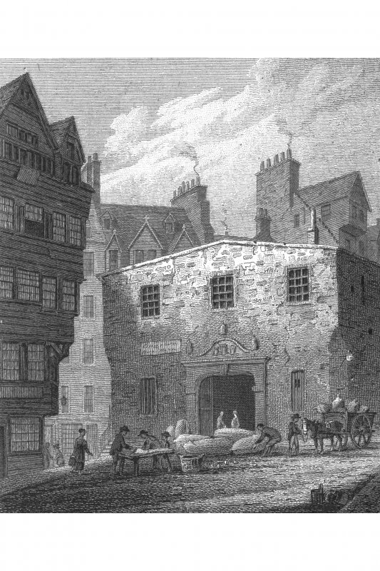 Edinburgh, Lawnmarket, Weigh House Photographic copy of engraving showing main entrance to Weigh House Copied from 'Views in Edinburgh and its Vicinity, Volume 2'.