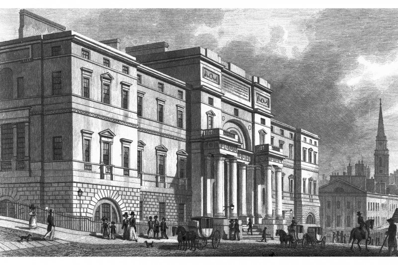 Edinburgh, South Bridge, University of Edinburgh, Old College Photographic copy of engraving showing entrance front of Old College on South Bridge Copied from ' Modern Athens'. Insc. 'The University, South Bridge Street, Edinburgh. Drawn by Tho. H Shepherd. Engraved by W H Lizars'