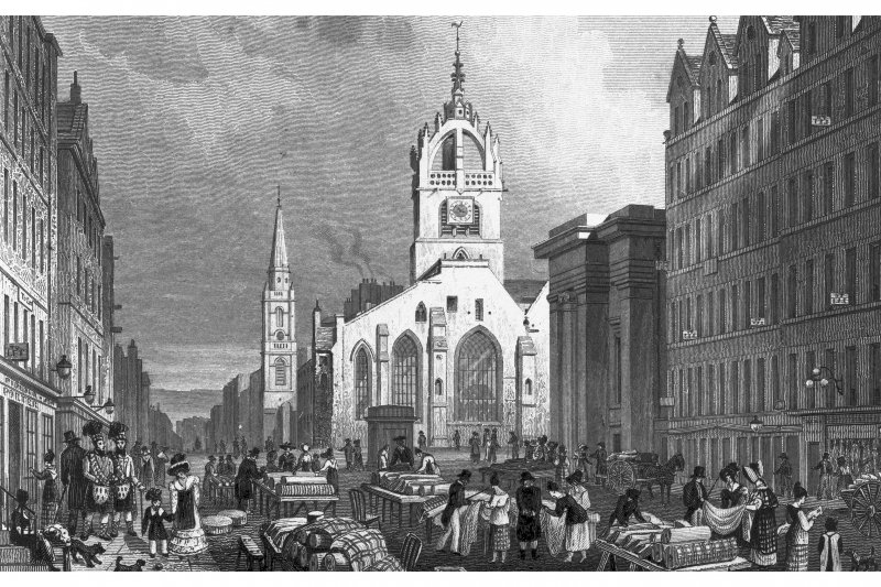 Edinburgh, High Street, St Giles' Cathedral; Lawnmarket, General Engraving showing St Giles' Cathedral looking east from the Lawnmarket Copied from 'Modern Athens'. Insc. 'St. Gile's Church, County Hall, and Lawn Market, High St., Edinburgh. Drawn by Tho. H Shepherd. Engraved by W Tombleson'