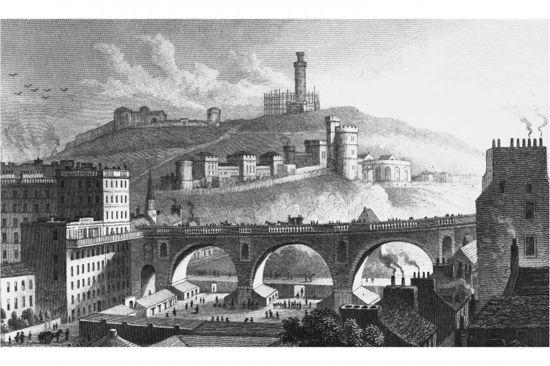 Engraving of North Bridge and Calton Hill from the Mound, Edinburgh. Copied from 'Modern Athens'. Insc. 'North Bridge, Calton Hill, &c. from the Bank of Scotland, Edinburgh. Drawn by Tho. H Shepherd. Engraved by S Lacy'.