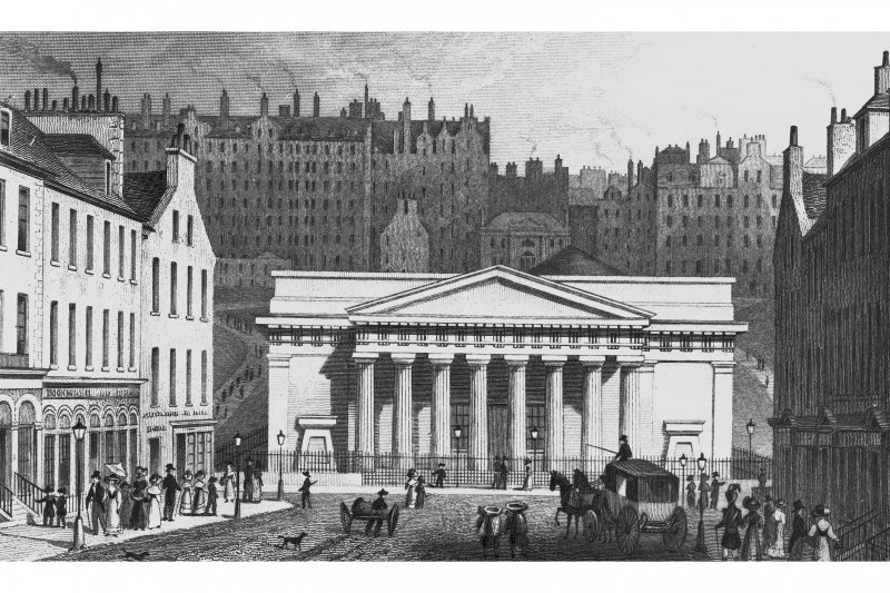 Edinburgh, The Mound, Royal Scottish Academy Engraving showing main entrance front of the Royal Scottish Academy from Hanover Street