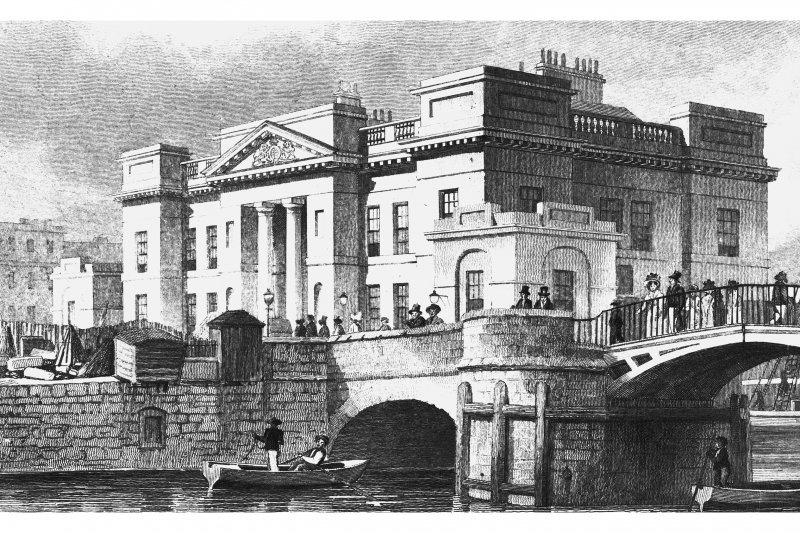 Edinburgh, Commercial Street, Customs House Photographic copy of engraving showing Customs House in Leith with river and bridge in foreground Copied from 'Modern Athens'. Insc. 'Custom House, Leith. Drawn by Tho. H Shepherd. Engraved by J Henshall'
